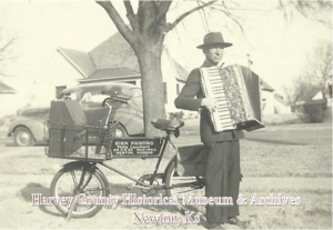 Philip J. Launhart.  Note advertisement on bicycle for sign painting business.  Photo courtesy Lynda Gregory Friesen.