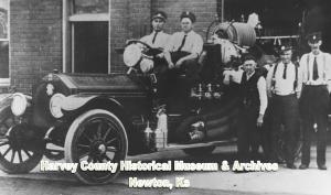 1914  Newton firemen: E.C. Warhurst (Driver); Guy Kemper (Fire Chief); O.N. Eberly (Volunteer Fireman); E.P. Moore & Israel Richardson (Firemen),