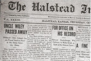 """""""Uncle Wiley Passed Away"""" Halstead Independent, 17 October 1912, p.1."""