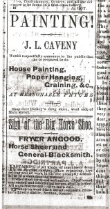 Ad from The Kansan, 1 June 1876.