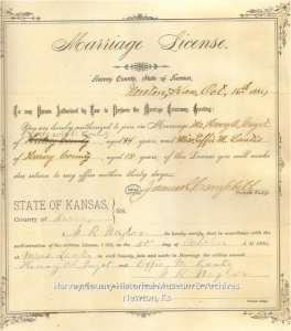 Effie M. Lantis (15) marriage to Henry A. Guyot (34), 20 October 1884. Marriage License Collection, HCHM Archives.