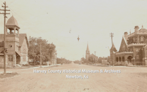 Main Street, Newton, looking north.  Presbyterian Church and St. Mary's Church on the right, Methodist Church on the left. ca. 1905.