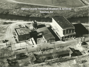 "Fred Harvey Farm Complex. 525 E. First, March 1938. (lt-rt): Dairy Building, Warehouse Building with refrigeration plant on west ent and cooling tower at back; Produce Building with carbonation and poultry departments.  Foreground ""Mexican Section House No. 116."