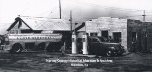 Lloyd Nebergall tanker at Vicker's Station, Zimmerdale, 1939.