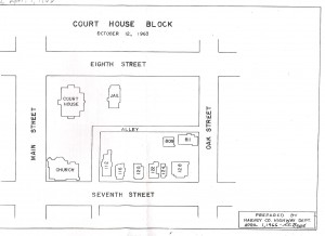 Layout of courthouse block, 1963.