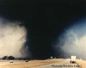 """March 1990 Hesston Kansas tornado"" by The Wichita Eagle - http://www.crh.noaa.gov/ict/?n=hesston. Licensed under Public Domain via Wikimedia Commons - http://commons.wikimedia.org/wiki/File:March_1990_Hesston_Kansas_tornado.jpg#/media/File:March_1990_Hesston_Kansas_tornado.jpg"
