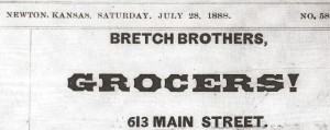 Bretch Brothers Advertisement from the Newton Kansan, 1888
