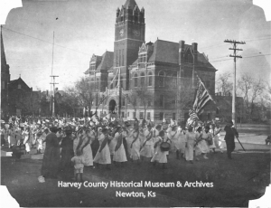 Parade in front of Harvey County Courthouse, 1917.  Lucile Mitchell Miller Collection HCHM Photos.