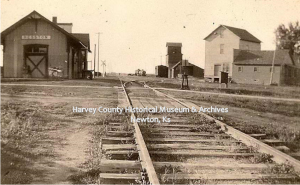 Missouri Pacific Depot, Hesston, 1920.  Photo taken by Lawrence E. Hauck, HCHM Photo Archives.