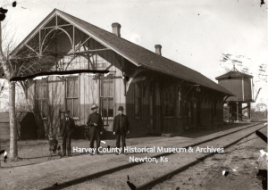 Missouri Pacific Depot, east 6th, Newton, 1919. Note Water Tower in the background.  Building torn down in 1987.