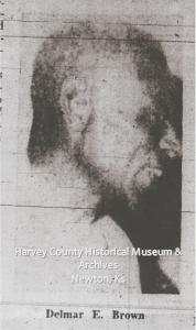Delmar E. Brown, Photo with Obituary in the Newton Kansan, 22 October 1966, p. 8.