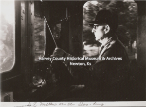 "G.E. Miller, train engineer ""on the Doo-bug"" (doodlebug). HCHM Photos"