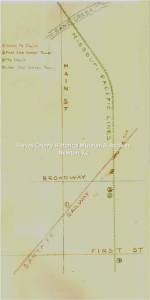 Missouri Pacific Railroad Map, drawn by S. Hackney, 3/1988.  HCHM Archives Flat Files, 14-6-A.