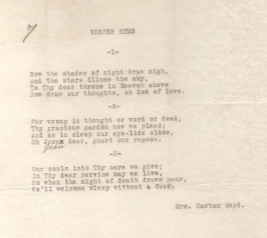 "Typewritten copy of 'Vesper Hymn"" by Mrs. Gaston Boyd.  HCHM Archives."