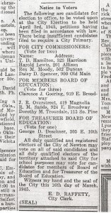 """""""Notice To Voters"""" Evening Kansan Republican, 30 March 1945, Local News, p. 4."""