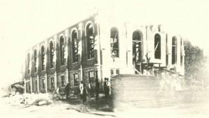 Church under construction in Wichita where James and Bridget Fox were married, 1886.