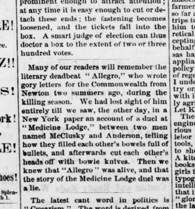 Clipping from the Junction City Weekly Union, 16 August 1873, p. 1.