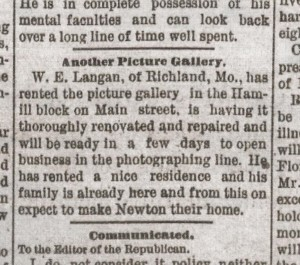 Notice in the Newton Daily Republican, 7 august 1887, p. 4.