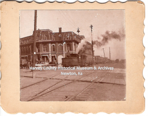 Newton Depot, Main, looking northeast across railroad tracks, 1890. Photographer unknown.