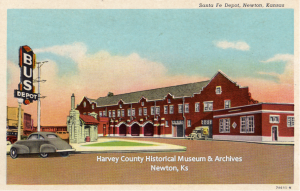 Postcard of the 1930 Santa Fe Railroad Depot in Newton, Ks
