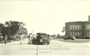 Washington School in the background. June 17, 1939 two vehicles collided near E.E. 4th & Washington Rd.