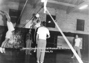 YMCA Activites, ca. 1959. Playing volleyball.