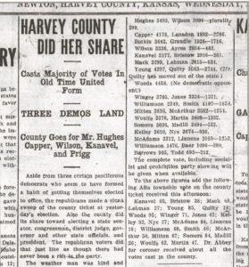 Evening Kansan Republican, 8 November 1916, p. 1.